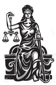Femida - lady justice, graphic vector illustration